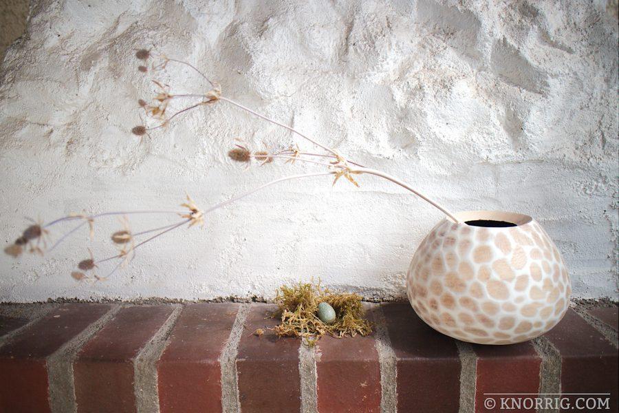 Platanen-Schale mit weißen Facetten | Plane wood bowl with white facets in shabby chic look